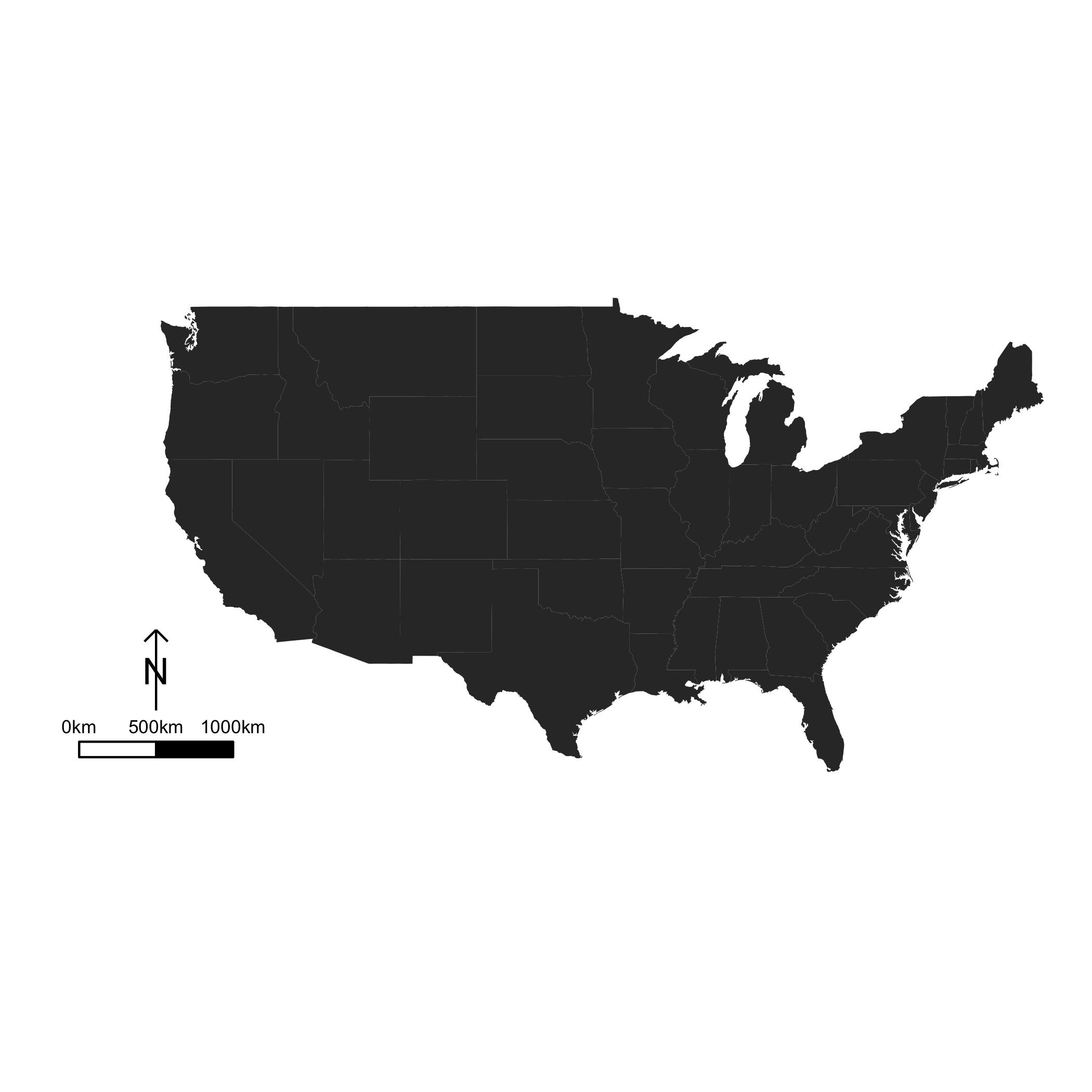 Us Map Using Ggplot2 And Scalebar